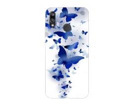Husa Silicon Soft Upzz Print Huawei P20 Lite Model Blue Butterflyes