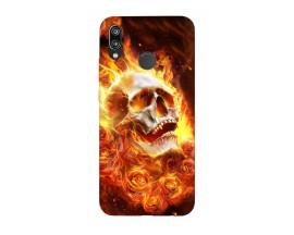 Husa Silicon Soft Upzz Print Huawei P20 Lite Model Flame Skull