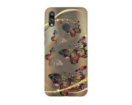 Husa Silicon Soft Upzz Print Huawei P20 Lite Model Golden Butterfly