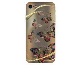 Husa Silicon Soft Upzz Print iPhone 7/iPhone 8 Model Flame Golden Butterflys