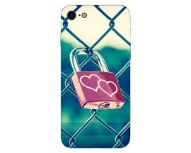 Husa Silicon Soft Upzz Print iPhone 7/iPhone 8 Model Heart Lock