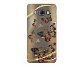 Husa Silicon Soft Upzz Print Samsung J5 2016 Model Golden Butterflys