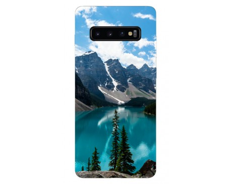 Husa Silicon Soft Upzz Print Samsung Galaxy S10 Model Blue