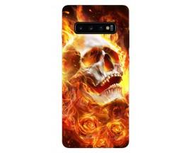 Husa Silicon Soft Upzz Print Samsung Galaxy S10 Model Flame Skull