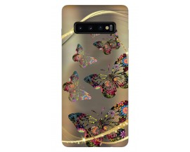 Husa Silicon Soft Upzz Print Samsung Galaxy S10 Model Golden Butterfly