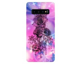 Husa Silicon Soft Upzz Print Samsung Galaxy S10 Model Neon Rose
