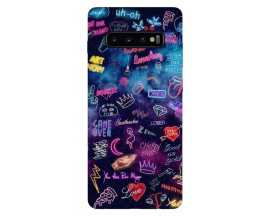 Husa Silicon Soft Upzz Print Samsung Galaxy S10 Model Neon