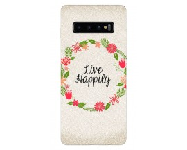 Husa Silicon Soft Upzz Print Samsung Galaxy S10 Plus Model Happily