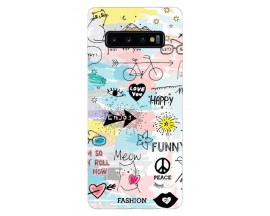Husa Silicon Soft Upzz Print Samsung Galaxy S10 Plus Model Meow