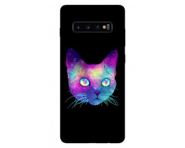 Husa Silicon Soft Upzz Print Samsung Galaxy S10 Plus Model Neon Cat