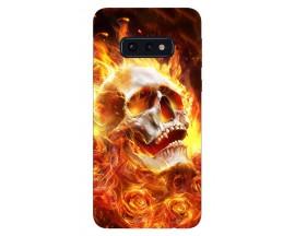 Husa Silicon Soft Upzz Print Samsung Galaxy S10e Model Flame Skull