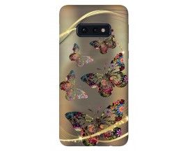 Husa Silicon Soft Upzz Print Samsung Galaxy S10e Model Golden Butterflys