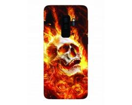 Husa Silicon Soft Upzz Print Samsung Galaxy S9+ Plus Model Flame Skull