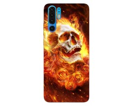 Husa Silicon Soft Upzz Print Huawei P30 Pro Model Flame Skull