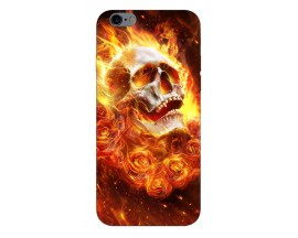 Husa Silicon Soft Upzz Print iPhone 6 / 6s Model Flame Skull