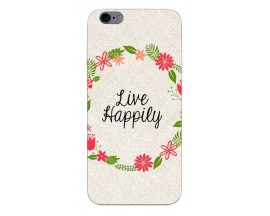 Husa Silicon Soft Upzz Print iPhone 6 / 6s Model Happily