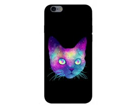 Husa Silicon Soft Upzz Print iPhone 6 / 6s Model Neon Cat