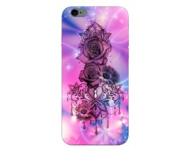 Husa Silicon Soft Upzz Print iPhone 6 / 6s Model Neon Rose