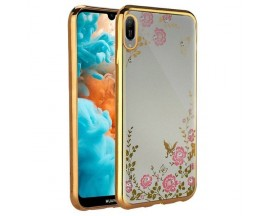 Husa Spate Forcell Bling Diamond Samsung M10 Gold