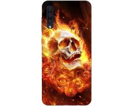 Husa Silicon Soft Upzz Print Samsung Galaxy A50 Model Flame Skull