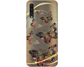 Husa Silicon Soft Upzz Print Samsung Galaxy A50 Model Golden Butterflies
