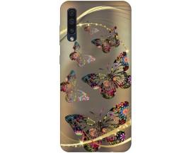 Husa Silicon Soft Upzz Print Samsung Galaxy A50 Model Golden Butterflies