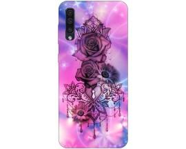 Husa Silicon Soft Upzz Print Samsung Galaxy A50 Model Neon Rose
