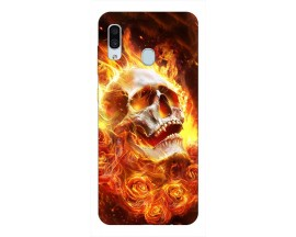 Husa Silicon Soft Upzz Print Samsung Galaxy A30 Model Flame Skull
