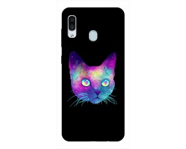 Husa Silicon Soft Upzz Print Samsung Galaxy A30 Model Neon Cat