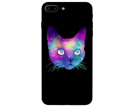 Husa Silicon Soft Upzz Print iPhone 7/8 Plus Model Neon Cat