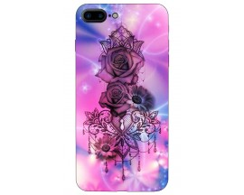 Husa Silicon Soft Upzz Print iPhone 7/8 Plus Model Neon Rose