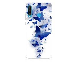Husa Silicon Soft Upzz Print Huawei P30 Lite Model Blue Butterflies