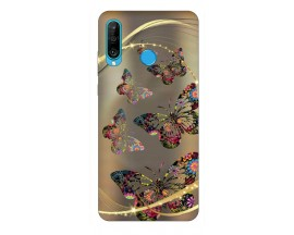 Husa Silicon Soft Upzz Print Huawei P30 Lite Model Golden Butterfly