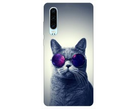 Husa Silicon Soft Upzz Print Huawei P30 Model Cool Cat