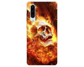 Husa Silicon Soft Upzz Print Huawei P30 Model Flame Skull