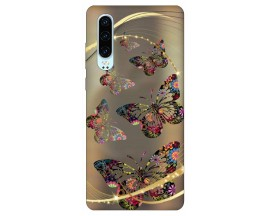 Husa Silicon Soft Upzz Print Huawei P30 Model Golden Butterfly