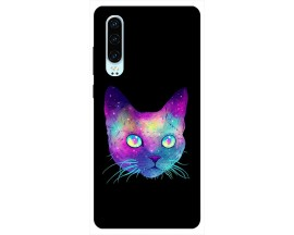 Husa Silicon Soft Upzz Print Huawei P30 Model Neon Cat
