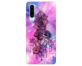 Husa Silicon Soft Upzz Print Huawei P30 Model Neon Rose