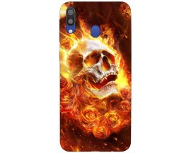 Husa Silicon Soft Upzz Print Samsung Galaxy M20 Model Flame Skull