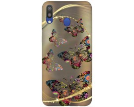 Husa Silicon Soft Upzz Print Samsung Galaxy M20 Model Golden Butterfly