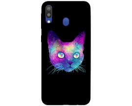 Husa Silicon Soft Upzz Print Samsung Galaxy M20 Model Neon Cat