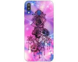 Husa Silicon Soft Upzz Print Samsung Galaxy M20 Model Neon Rose