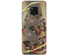 Husa Silicon Soft Upzz Print Huawei Mate 20 Pro Model Golden Butterfly