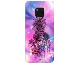 Husa Silicon Soft Upzz Print Huawei Mate 20 Pro Model Neon Rose