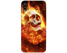 Husa Silicon Soft Upzz Print Samsung Galaxy M10 Model Flame Skull