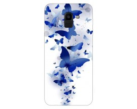 Husa Silicon Soft Upzz Print Samsung J6 2018 Model Blue Butterflies