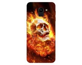 Husa Silicon Soft Upzz Print Samsung J6 2018 Flame Skull