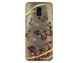 Husa Silicon Soft Upzz Print Samsung J6 2018 Model Golden Butterfly