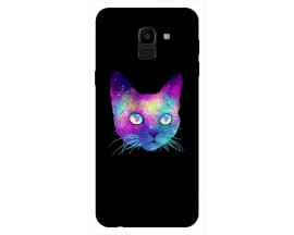 Husa Silicon Soft Upzz Print Samsung J6 2018 Model Neon Cat