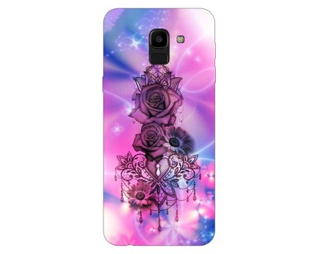 Husa Silicon Soft Upzz Print Samsung J6 2018 Model Neon Rose